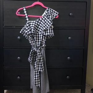 Black & White Calvin Klein Checkered Dress